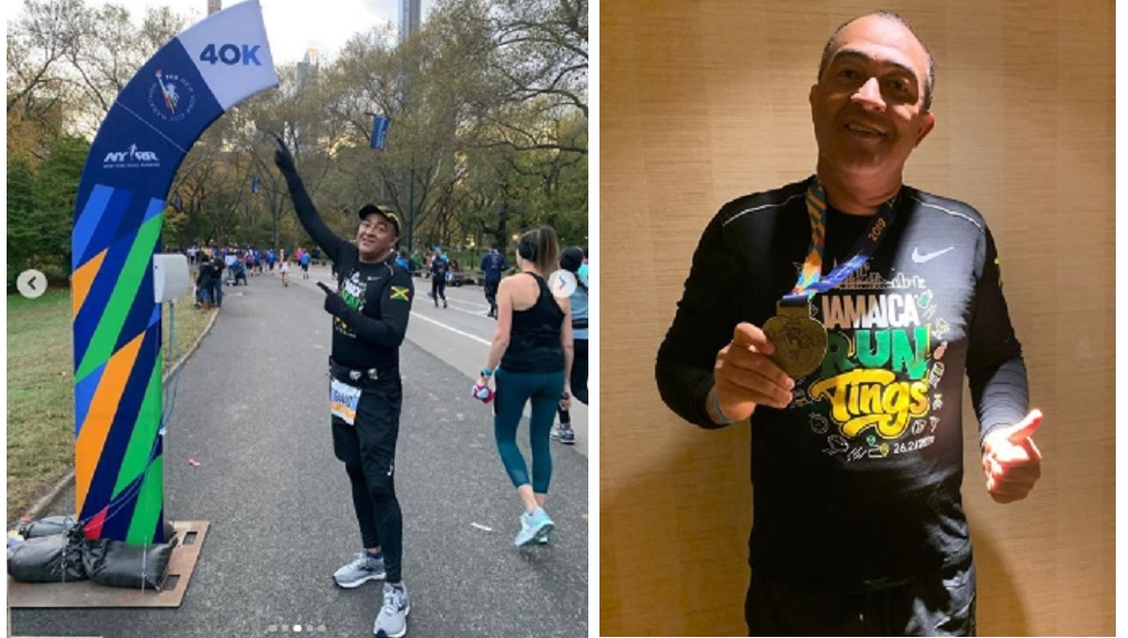 Combination of photos shows Health Minister Dr Christopher Tufton at the New York Marathon last weekend. (Photos: Instagram)