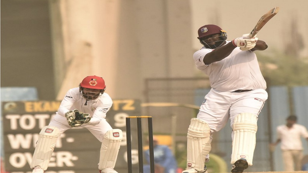 West Indies all-rounder Rahkeem Cornwall in action against the Afghanistan Cricket Board XI.