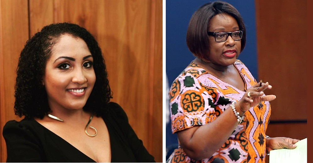 UNC PRO Anita Haynes (left), Planning and Development Minister Camille Robinson-Regis (right).