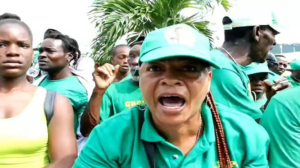 This Jamaica Labour Party supporter was unhappy over being unable to enter the National Arena due to space constraints during the party's annual conference on Sunday.