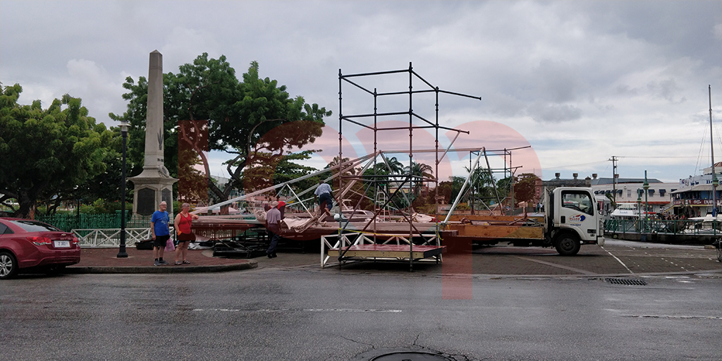 Despite the heavy rains on Thursday, workmen were busy getting the stage and tents in order ahead of the 2019 Sagicor Life Inc. Lighting Ceremony on Friday