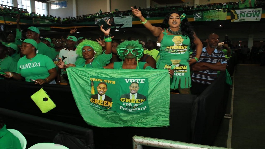 Jamaica Labour Party supporters inside the National Arena ahead of the major activities expected at the public session of the party's annual conference on Sunday.