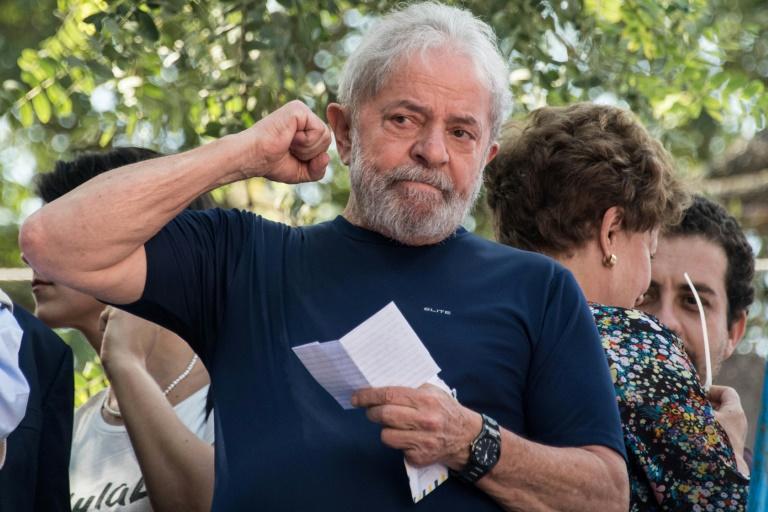L'ex-président brésilien Luiz Inacio Lula da Silva, incarcéré depuis plus d'un an et demi pour corruption, à Sao Paulo le 7 avrl 2018