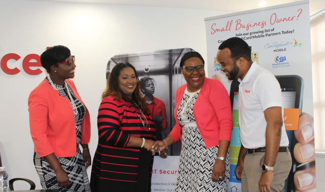 (L-R) Keri Mapp, Cave Shepherd Operations Manager; Rosemary McCarthy, Digicel Corporate  Sales Manager; Gail Welch, Business Development Officer, Cave Shepherd; Gregory Puckerin, Senior Account Manager, Digicel.