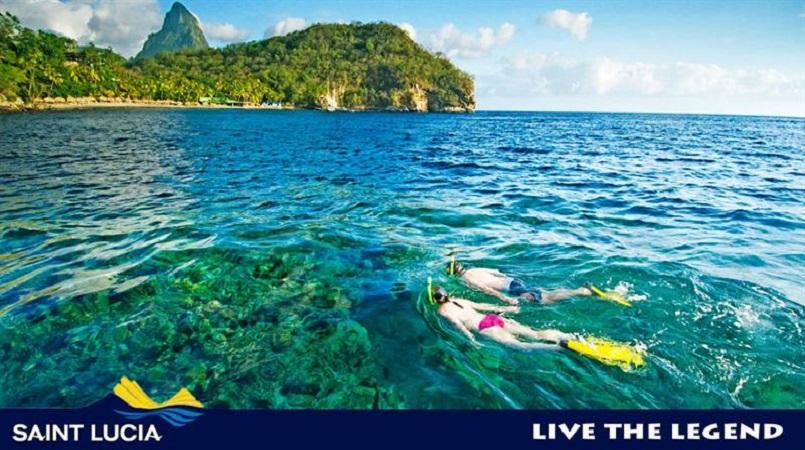 Snorkeling in St Lucia.