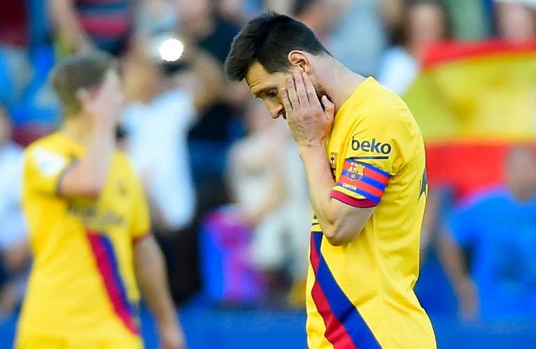 La star et capitaine du FC Barcelone Lionel Messi lors de la défaite sur le terrain de Levante en Liga, le 2 novembre 2019 à Valence