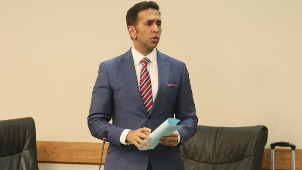 Attorney General Faris Al-Rawi answers an urgent question in the Senate November 19, 2019.