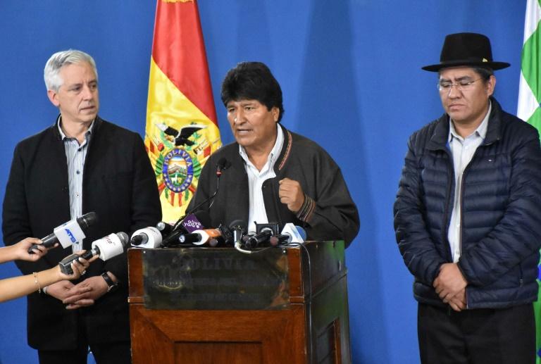 Le président Evo Morales lors d'une conférence de presse le 9 novembre 2019 à El Alto