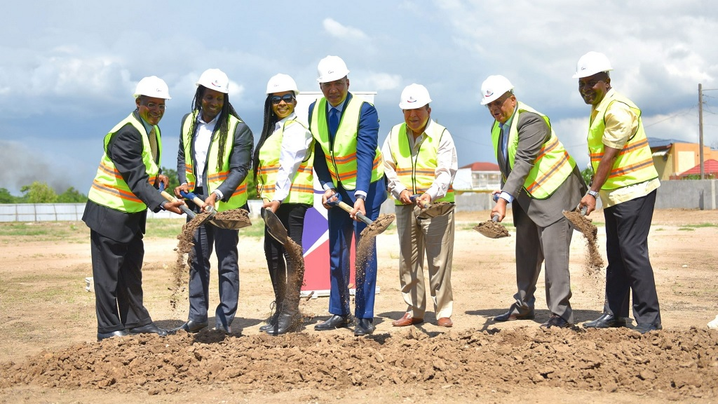 Prime Minister Andrew Holness (centre) breaks ground for the $3.5-billion business process outsourcing complex, GTECH Park, in Cookspen, Portmore. Others (from left) are Executive Director of the Economic Growth Council, Senator Aubyn Hill; East Central St Catherine MP, Alando Terrelonge; CEO, Strength Construction, Carelene Bailey; CEO, Portmore Holdings, Gordon Tewani; Leader of the Opposition, Dr Peter Phillips; and Mayor of Portmore, Councillor Leon Thomas.