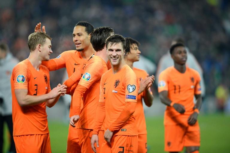 La joie des Néerlandais après leur qualification pour l'Euro-2020, à l'issue de leur match face à l'Irlande du Nord, le 16 novembre 2019 à Belfast