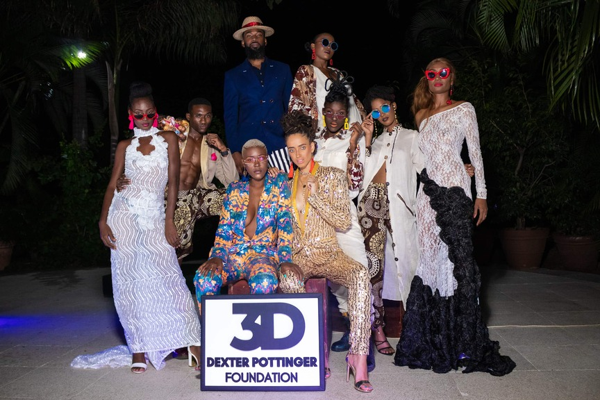 The capsule presentation was directed by fashion designer Troy Oraine Williamson (back row, left) and featured models (from left) Latoya Samuels, Romario Roper, Marsha Alexander, Cindy Wright, Lincia Haughton, Tianne Esson, Vanessa Davidson, and (back row, right) Kimberly Dawkins.