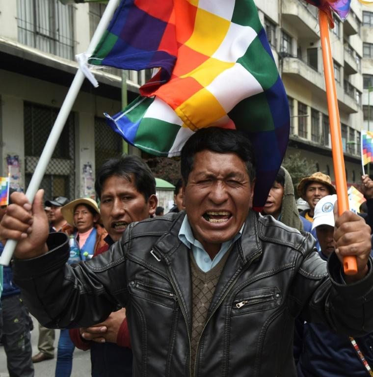 Des partisans de l'ex-président bolivien Evo Morales manifestent à El Alto, près de La Paz, le 13 novembre 2019