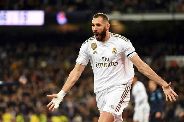 L'attaquant du Real Madrid Karim Benzema buteur contre la Real Sociedad, le 23 novembre 2019 à Madrid