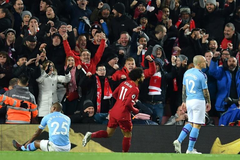 Mohamed Salah, auteur du 2e but de Liverpool lors du choc de Premier League contre Manchester City, le 10 novembre 2019 à Anfield