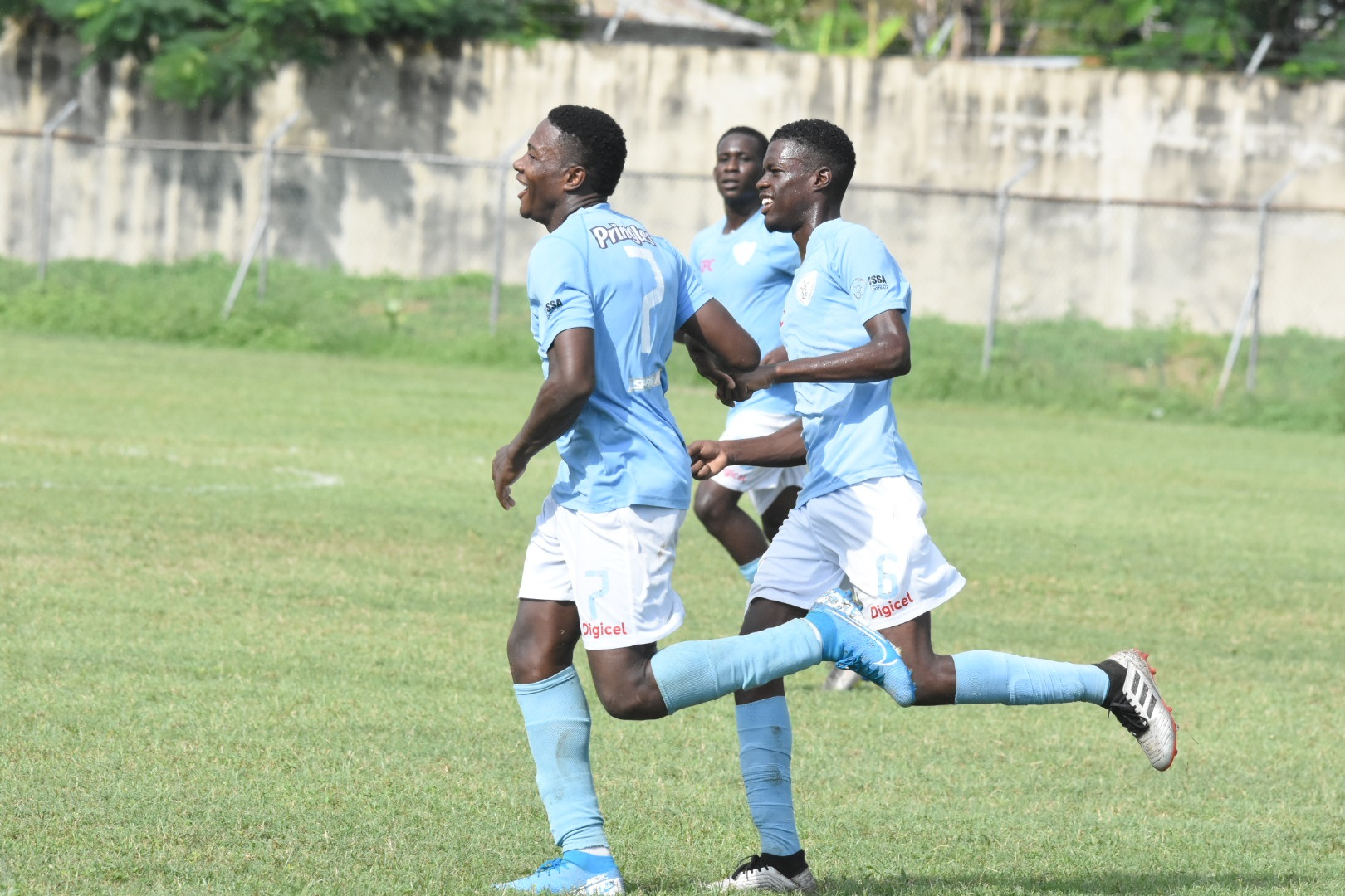 St Catherine High School players celebrate a goal during their first round fixture against Holy Trinity High in the 2019 ISSA/Digicel Walker Cup knockout football competition at Prison Oval on Thursday, November 7, 2019. (PHOTOS: Marlon Reid).