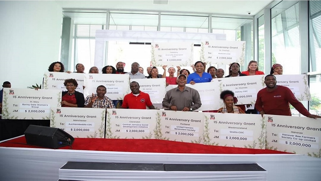 The awardees are all smiles with their symbolic cheques of $2 million each from the Digicel Foundation, at an award ceremony held Tuesday at the Digicel headquarters in Kingston.