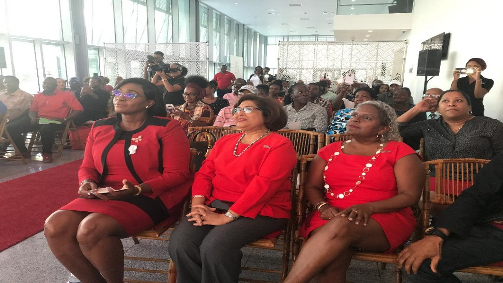 Juliet Holness (left), Member of Parliament and wife of Prime Minister Andrew Holness, seated alongside Jean Lowrie-Chin (centre) , Chairperson of Digicel Foundation; and Karlene Dawson, CEO of the Foundation at its awards ceremony on Tuesday at Digicel Headquarters in downtown Kingston.