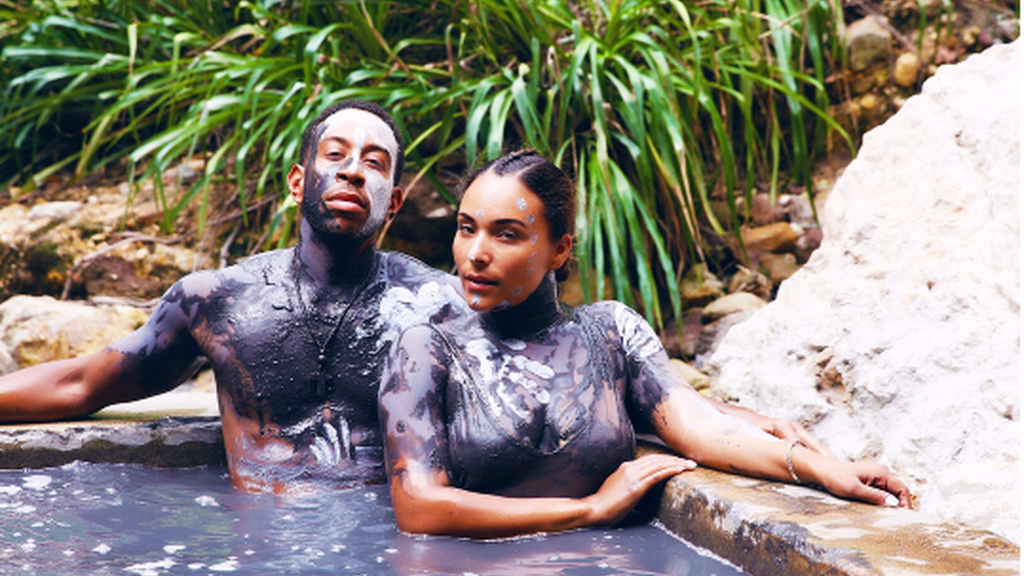 Rapper and actor Ludacris relaxing in St Lucia's Sulpher Springs with his wife Eudoxie