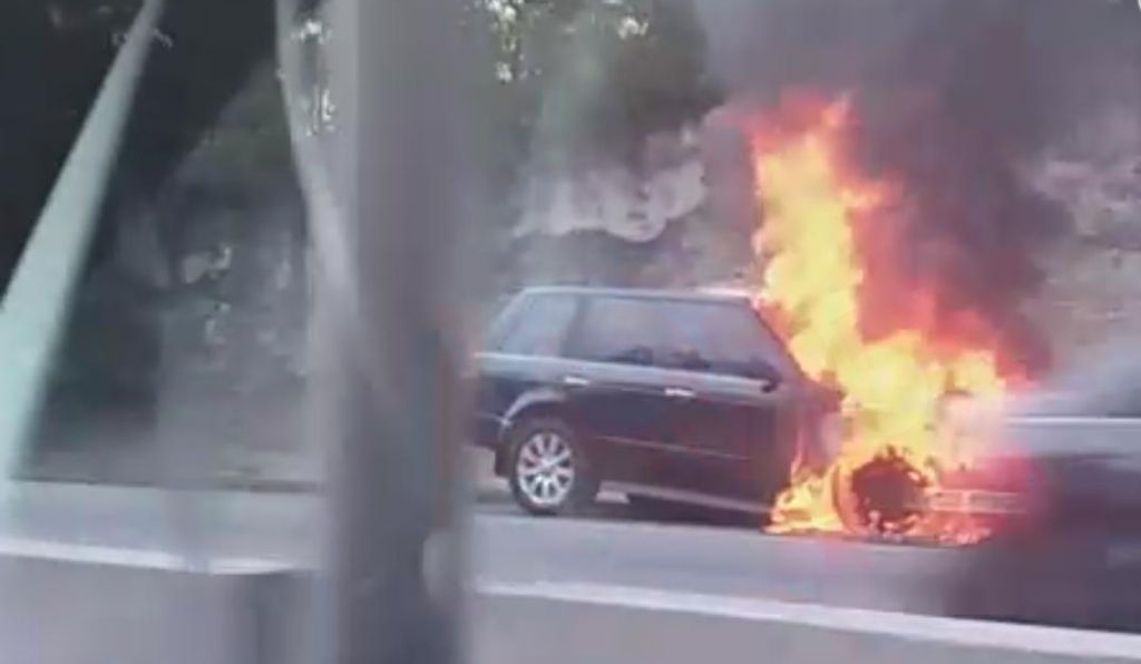 SUV caught on fire