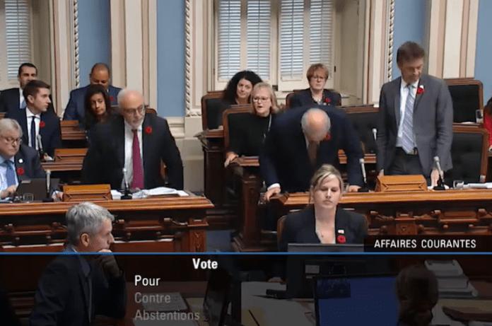 L'Assemblée nationale du Québec, votant à l'unanimité la motion témoignant leur solidarité envers le peuple haïtien./Photo: Capture d'écran.