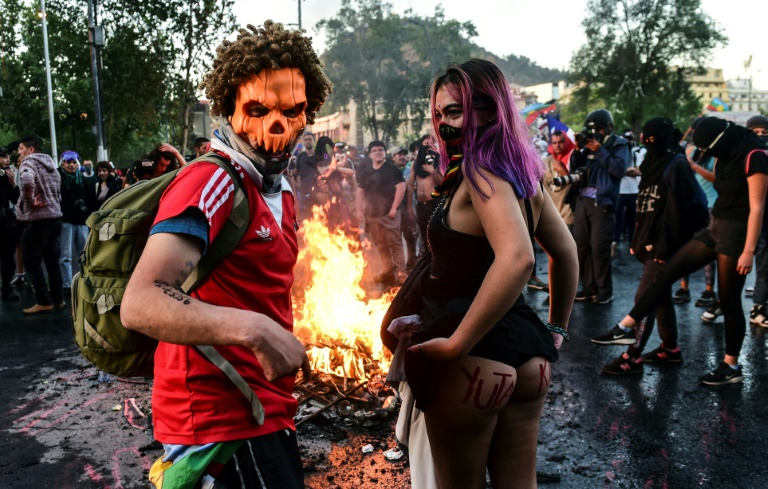 Manifestation contre le gouvernement, le 31 octobre 2019 à Santiago du Chili
