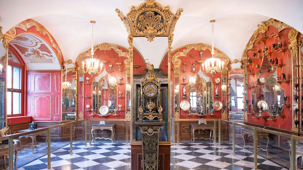 This Tuesday April 9, 2019 photo, shows a part of the collection at White Silver Room inside Dresden's Green Vault in Dresden. (Sebastian Kahnert/dpa via AP)