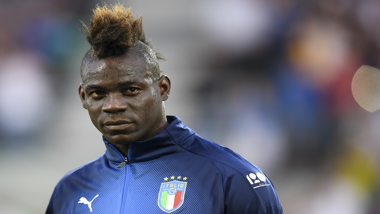 Italy's Mario Balotelli looks on prior to the start of the friendly football match between Saudi Arabia and Italy, at Kybunpark Stadium, in St Gallen, Switzerland, Monday, May 28, 2018. (Gian Ehrenzeller/ Keystone via AP)
