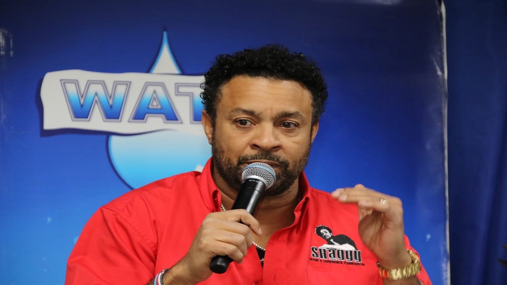 "Entertainer Orville ""Shaggy"" Burrell addresses journalists at a press conference on Monday."