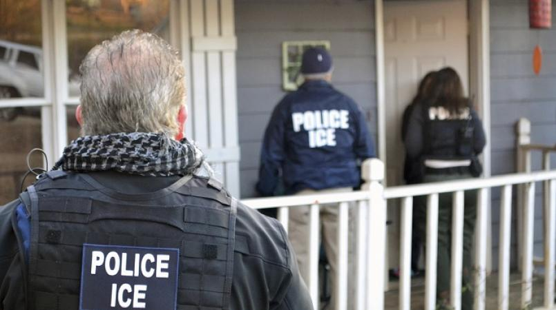 File photo of US Immigration and Customs Enforcement (ICE) officers during an operation.