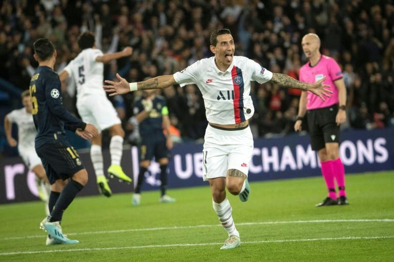 Angel Di Maria célèbre le deuxième but du Paris SG lors du match aller de Ligue des champions face au Real Madrid, le 18 septembre 2019 au Parc des Princes