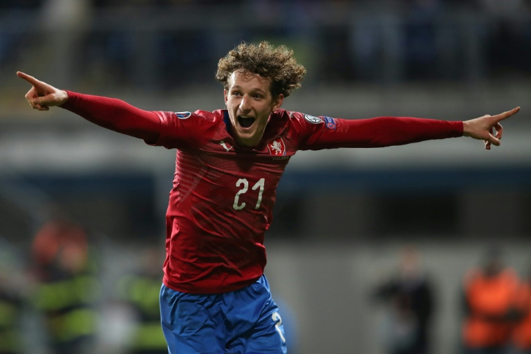 Le bonheur du milieu tchèque Alex Kral buteur face au Kosovo à Plzen pour la qualification à l'Euro, le 14 novembre 2019
