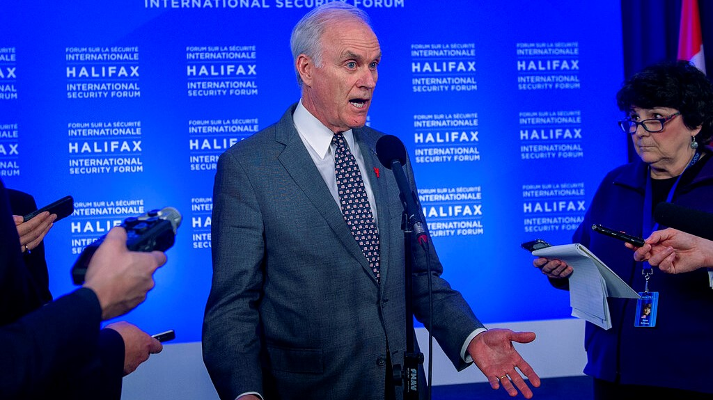 In this Saturday, Nov. 23, 2019 photo, U.S. Navy Secretary Richard Spencer fields questions at a media availability at the Halifax International Security Forum in Halifax, Nova Scotia. (Andrew Vaughan/The Canadian Press via AP)
