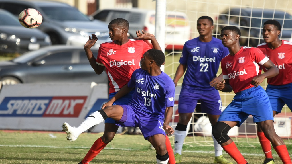 Action between defending champions Kingston College and Camperdown High in their final quarter-final round match of the  2019 ISSA/Digicel Manning Cup competition on Tuesday, November 12 at the Stadium East field. KC won 2-1 to qualify for the final. (PHOTOS: Marlon Reid).