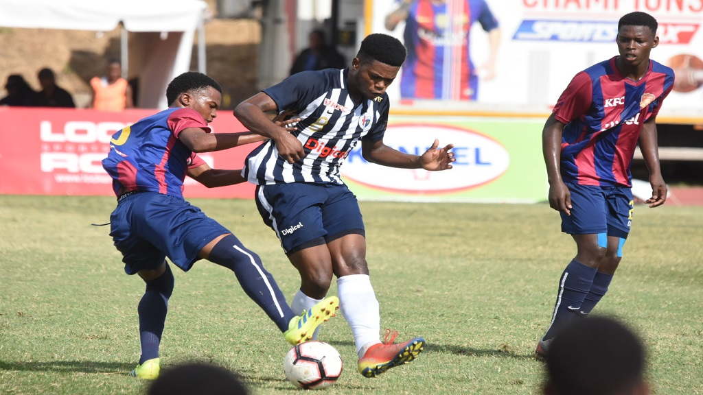 Action between Jamaica College and St Andrew Technical High School during the quarter-final round  of the 2019 ISSA/Digicel Manning Cup competition on November 12 at the Stadium East field. STATHS won 2-1. Both teams will now face off on Friday, November 29 in the final. (PHOTO: Marlon Reid).