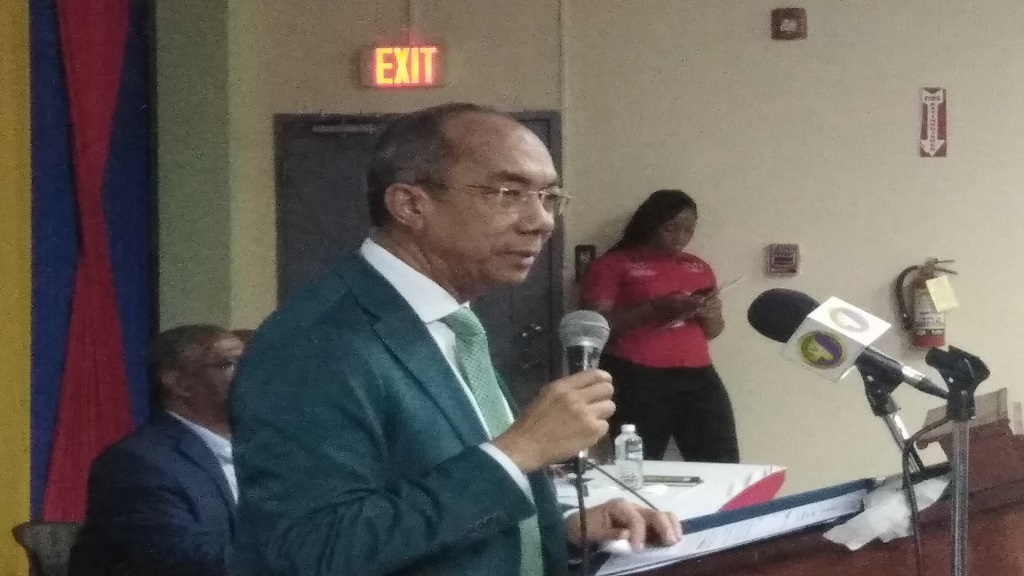 Dr Horace Chang speaking in Montego Bay on Thursday.
