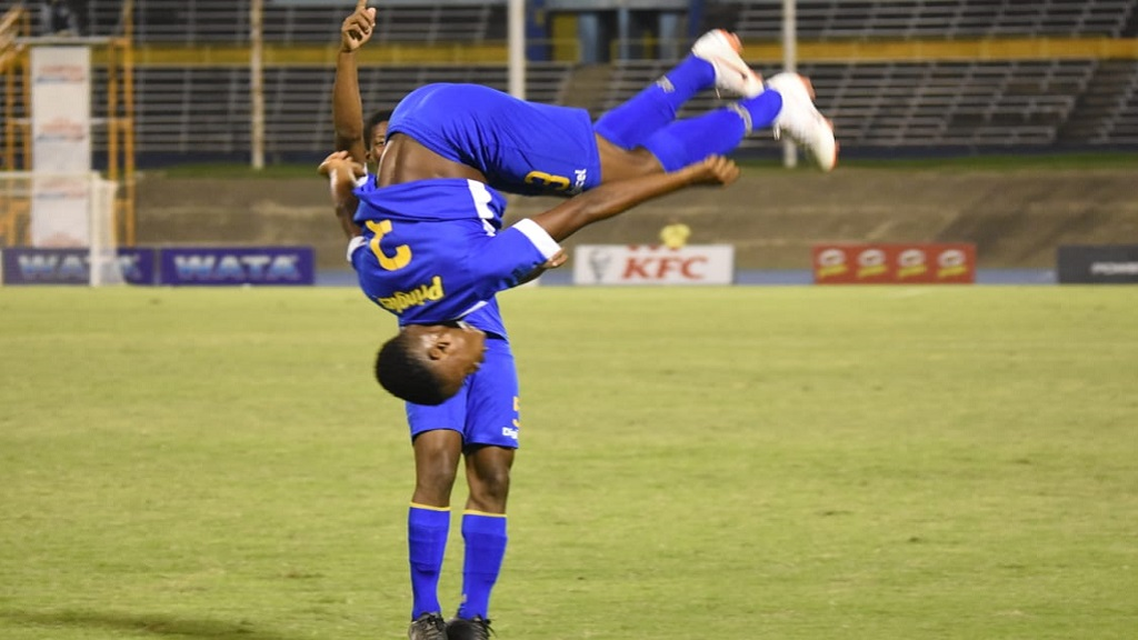 Clarendon College's Omar Reid reacts with a somersault after scoring the second goal of the game during their Round of 16 match against Wolmer's Boys in the 2019 ISSA all-island Champions Cup on Friday, November 1 at the National Stadium. (PHOTOS: Marlon Reid),