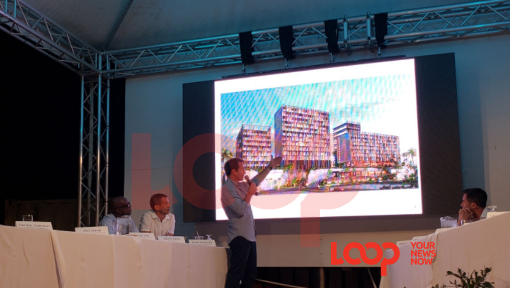 Architect Gabriel Raij shows the proposed designs for the Hyatt Ziva in Barbados.