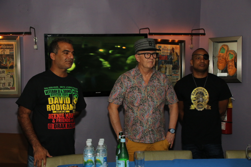 DJs David Rodigan (left) and Delano (right) with Kaya Herb House's Balram Vaswani at the launch of Dubwise.
