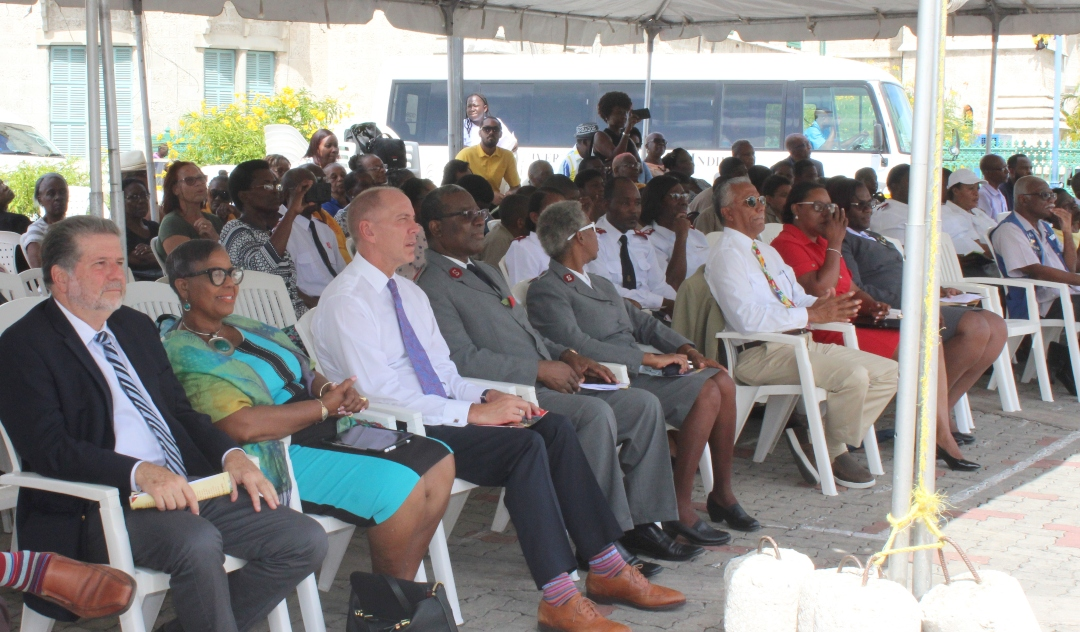 Salvation Army Board Chairman, Paul Bernstein (far left) and Minister Cynthia Forde (second left) during the Kettle Appeal launch.