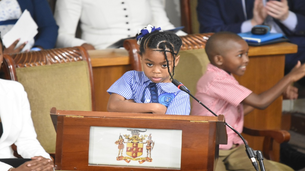 Ngozi Wright, 7, addressing Parliament on Tuesday. (Photos: Marlon Reid)