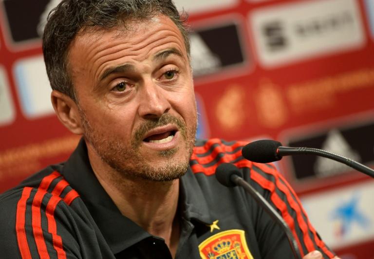Luis Enrique, alors sélectionneur de l'Espagne, en conférence de presse à Valence, le 22 mars 2019