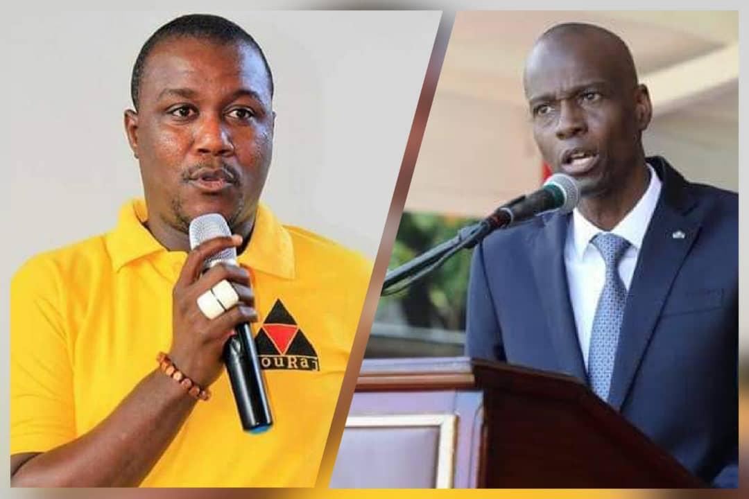De gauche à droite, le responsable de l'Association KOURAJ, Charlot Jeudy et le président de la République, Jovenel Moïse. Collage: Loop Haïti.
