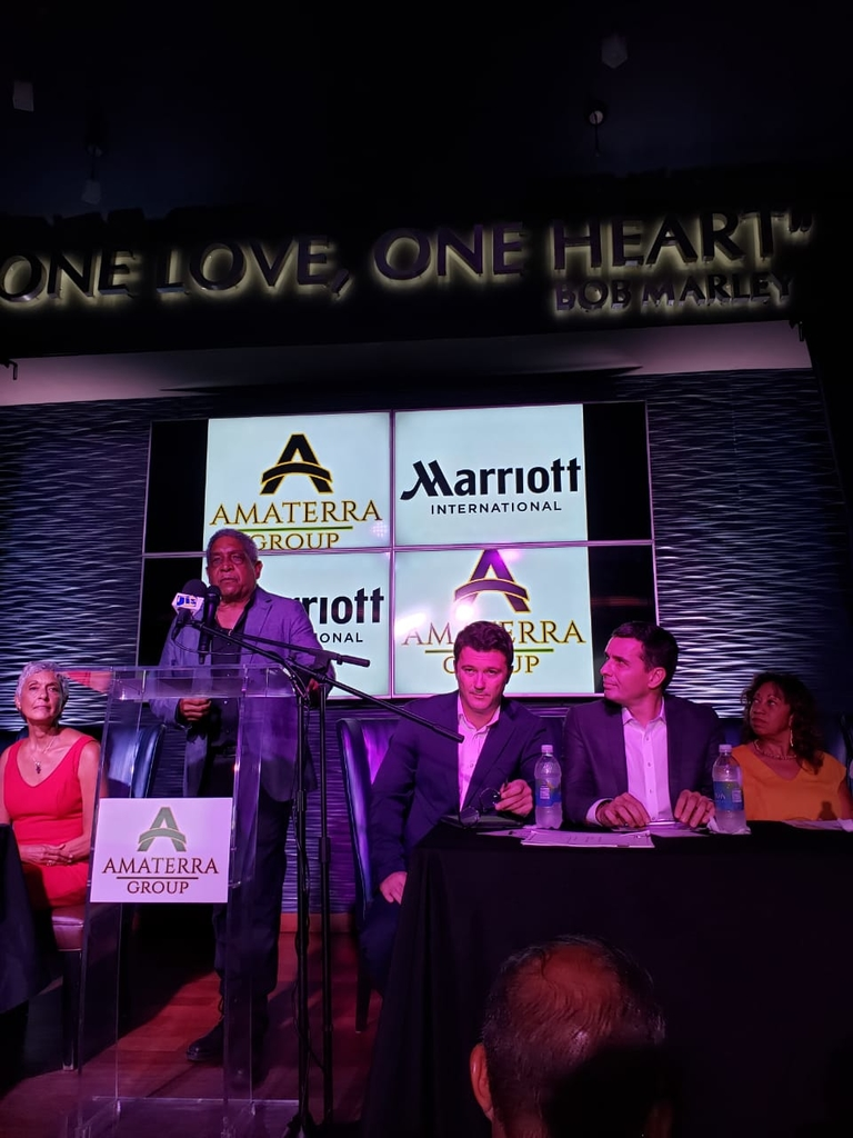 Keith Russell speaking during official signing of hotel management agreement hosted at the Hard Rock Cafè in Montego Bay on Wednesday.