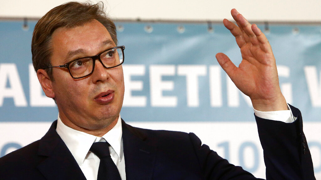 Serbia's President Aleksandar Vucic talks for the media during a joint news conference, following the Western Balkan leaders' meeting in the southwestern town of Ohrid, North Macedonia, November 10, 2019. (AP Photo/Boris Grdanoski)