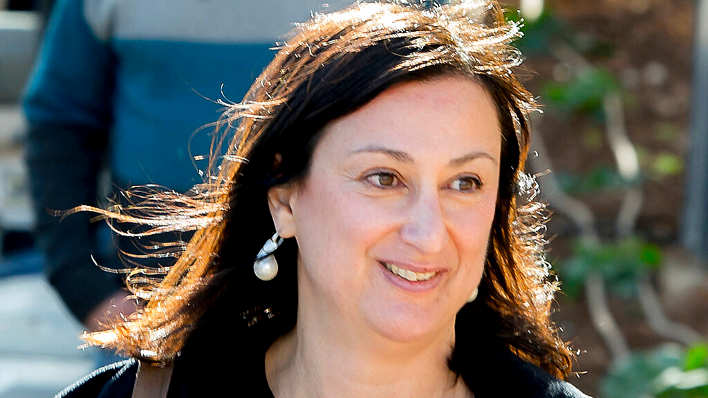 FILE - This April 4, 2016 file photo shows Maltese investigative journalist Daphne Caruana Galizia, who was killed by a car bomb in Malta on October 16, 2017. (AP Photo/Jon Borg, File)