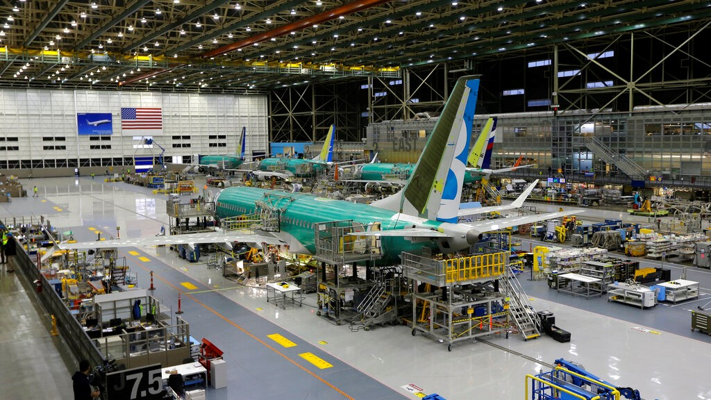 This Dec. 7, 2015, file photo shows the second Boeing 737 MAX airplane being built on the assembly line in Renton, Wash. (AP Photo/Ted S. Warren, File)