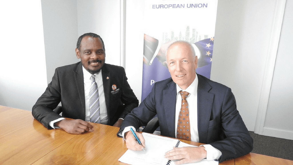 Pictured: Founder, Vision on Mission, Wayne Chance, (left) with EU Ambassador Aad Biesebroek (right). Photo courtesy The European Union Delegation to Trinidad and Tobago.