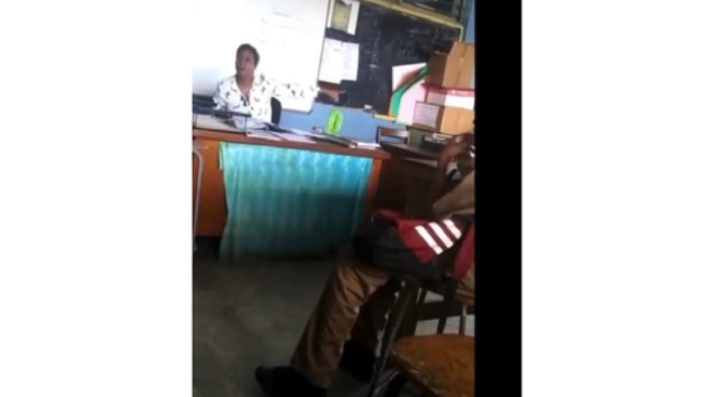 A screen grab from a video of a verbal clash between a teacher and a student at a St Andrew-based high school on Thursday.