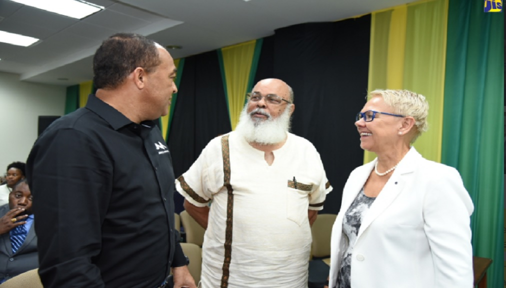 Health and Wellness Minister, Dr Christopher Tufton (left), engages with Professor Emeritus of Psychiatry, University of the West Indies (UWI), Frederick Hickling (centre); and Head of the European Union (EU) Delegation to Jamaica, Ambassador Malgorzata Wasilewska. The occasion was the launch of a research paper on incarcerated persons with mental illness, dubbed 'Through the Cracks', at the UWI Regional Headquarters in St. Andrew on Wednesday, November 6