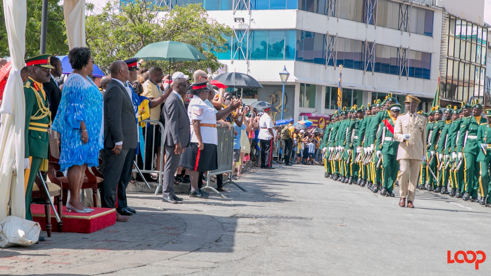 Prime Minster Mia Mottley took the salute outside Parliament on Broad Street, Bridgetown.